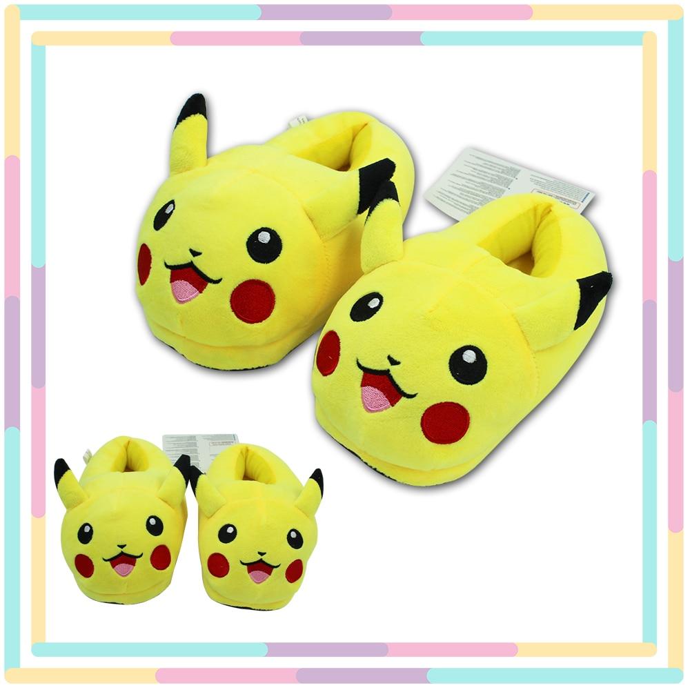 OHCOMICS Anime Poke Mon Pikachu Cute Children Cartoon Plush Stuffed Slippers Warm Household Slipper Cotton Shoes Cosplay Costume