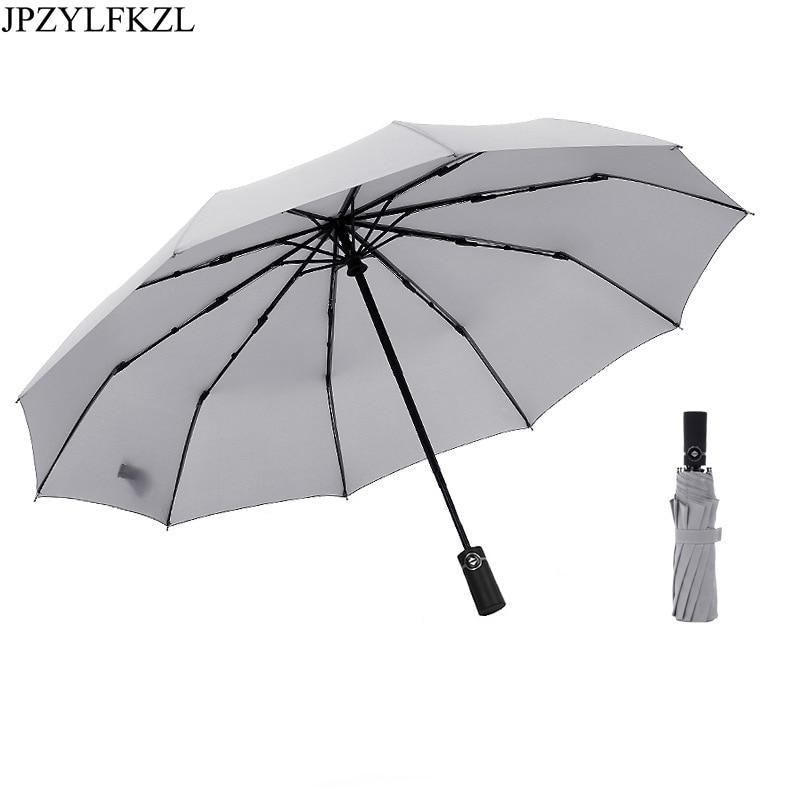 JPZYLFKZL 10k Automatic Folding Umbrella Female Male Car Luxury Large Windproof Men Rain Black Paint parasol