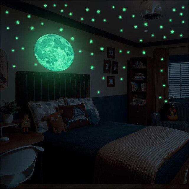 44c29d3ae Brilham No Escuro 3D Lua Quarto Adesivo Decalque 94 pcs Estrelas + 44 pcs  Sol Noite