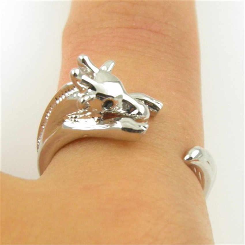CHENGXUN 新ファッションジュエリーキリンリング動物ラップリング調節可能な女性のための指輪ヴィンテージ