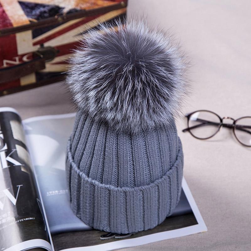 Maylooks Autumn Winter Women Cap Fox Fur Ball Hat Pom Poms 15CM Cap Female Warm Beanies Crochet Knit Beanie Hats Caps
