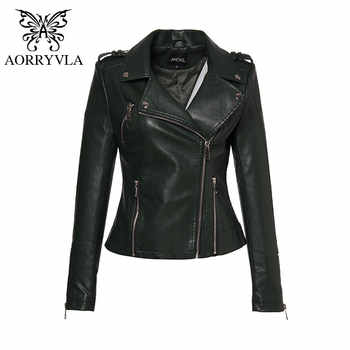 AORRYVLA 2019 New Fashion Women\'s Leather Jacket Short Turn-Down Collar Zippers Black Motorcycle Faux Leather PU Jacket Hot