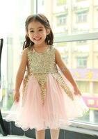 Eleven Story Girls New Summer Sequined Tutu Sleeveless Dress Kids Grown Tulle Clothing Shining Christmas