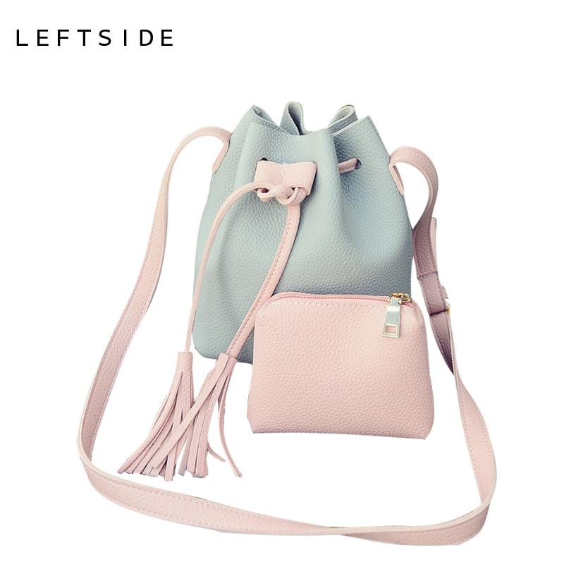 LEFTSIDE PU Leather Handbag Cheap Crossbody Handbags Organizer Small Cute Bucket