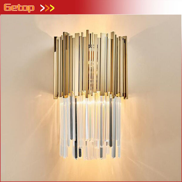 Creative Post-modern Crystal Wall Lamp for Bar Living Room Bedroom Bedside Aisle Staircase Entrance Wall Lamp E14 LED Bulb