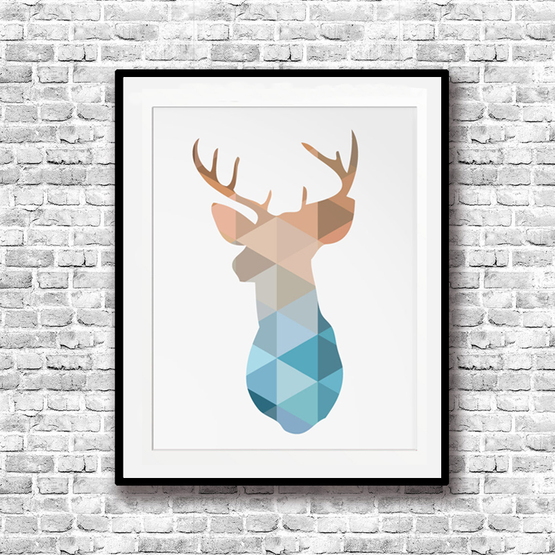 Geometric Purple Deer Wall Art Print Modern Poster Buck: Geometric Triangles Deer Head Nordic Canvas Painting