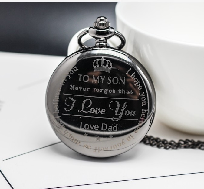 To Son I Love You Love Dad Quartz Pocket Watch Necklace Black Fob Clock Chain Pendant