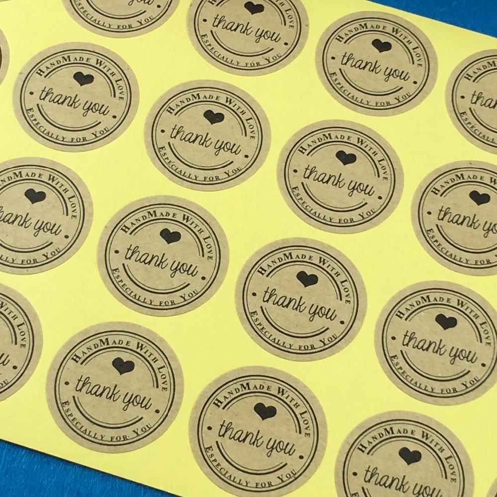 Scrapbook paper display - 3cm Kraft Sticker Labels Thank You Label Packaging Stickers Scrapbook Sealing Handmade Paper