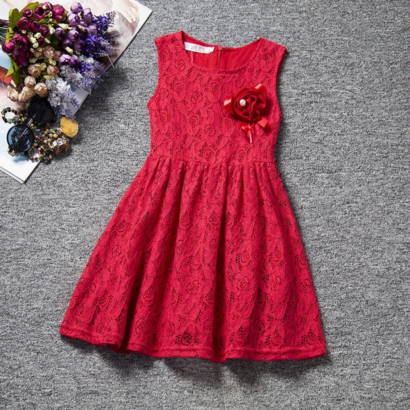 2017 Summer the new children's clothes girl beautiful lace dress pink mei red baby clothing three to eight years old clothe A151 h16 2013 hot baby summer new design stylish and elegant multi layered lace roses very beautiful girl in evening dress