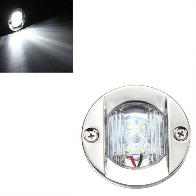 12V LED Marine Boat Yacht Light Transom Stainless Steel Anchor Stern Light Waterproof White Round Boat Taillight