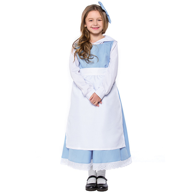 f7ef6f7c7bf Umorden Halloween Costumes for Girls Beauty and Beast Belle Maid Cosplay  Girl Kids Costume Carnival Party