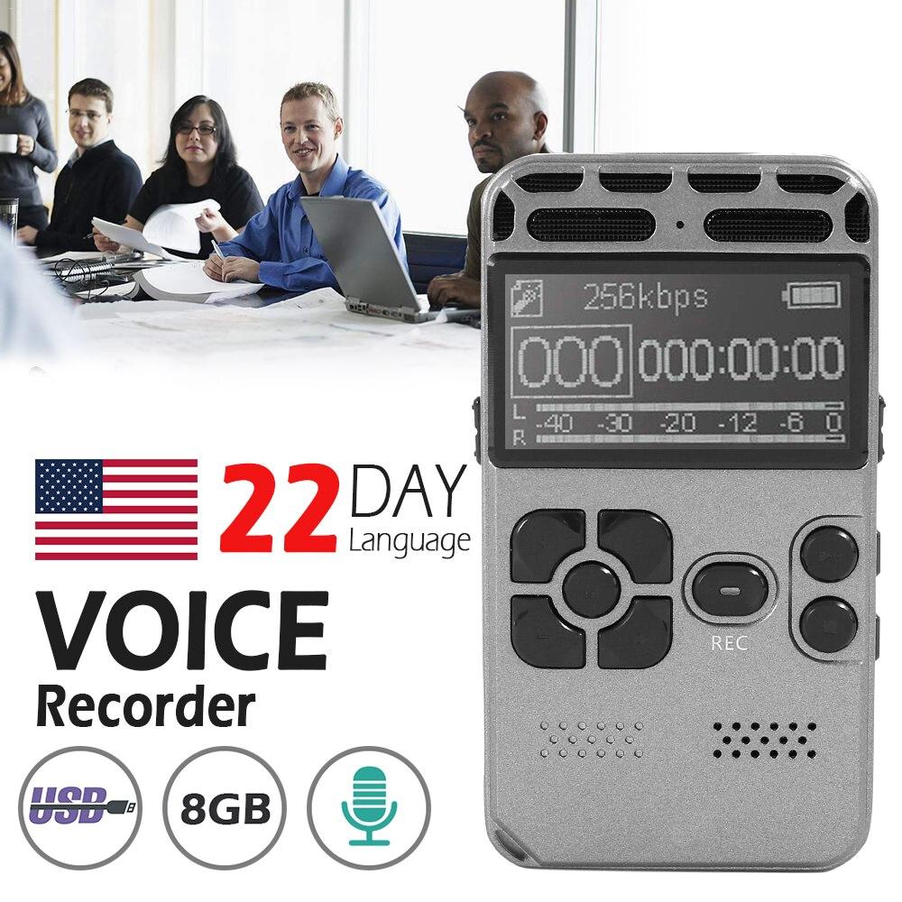 8 GB enregistreur vocal USB professionnel 72 heures Dictaphone enregistrement Audio numérique avec lecteur MP3 WAV pour conférences réunions