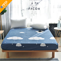 1pc 100%Cotton Fitted Sheet Mattress Cover Printing Bedding Linens Bed Sheets With Elastic Band Double Queen Size 20 Colors