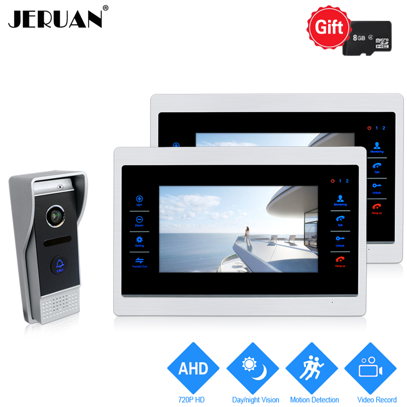 JERUAN 720P AHD HD Motion Detection 7 INCH Video Door Phone Intercom System 2 Record Monitor +1.0MP HD 110 degree COMS Camera