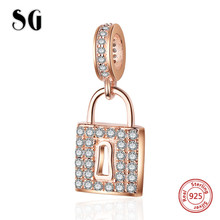 SG New arrival Sterling Silver Lock beads Rose Gold CZ Charms Fit authentic pandora bracelets diy Jewelry making for women Gift sg new arrival 925 sterling silver charms dream catcher beads with cz fit pandora bracelets diy jewelry making for women gifts