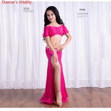 Girls Belly Dance Stage Competition Performance Show Costume 2 Piece Lace Set (top Maxi Skirt) Free Shipping