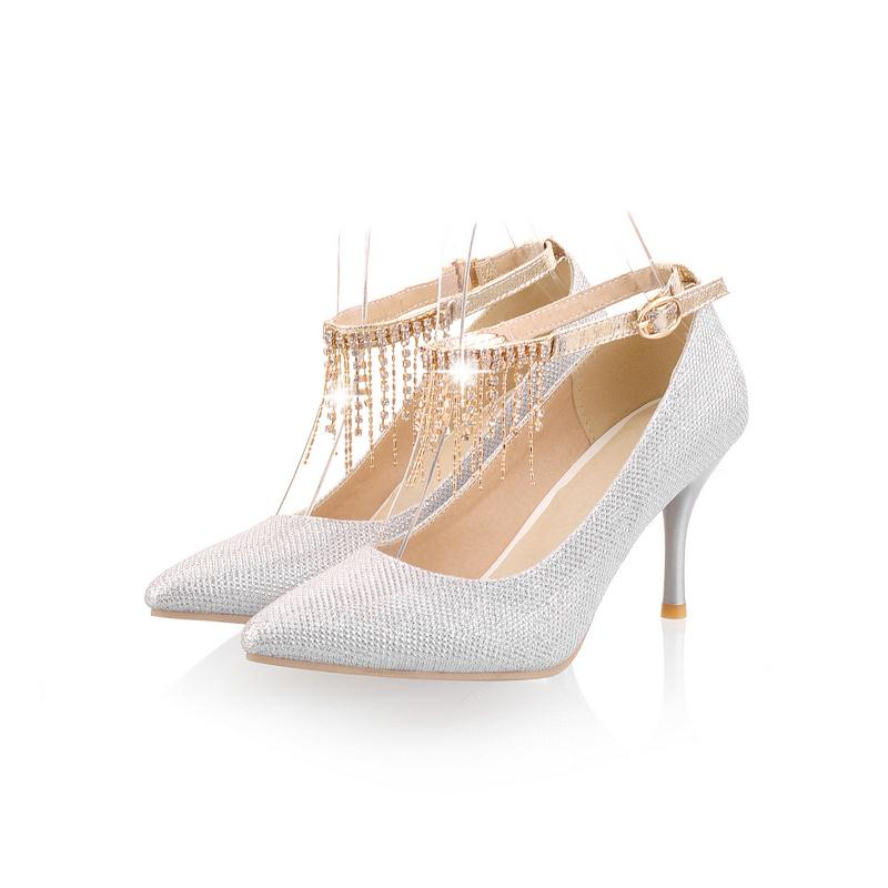 Asumer Solid pointed toe buckle single shoes party wedding elegant fashion women pumps big size 30-45 high heels shoes