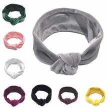 цена на Yundfly Knotted Cotton Blend Headband Newborn Turban Ear Knot Head Wraps Kids Headband Hair Accessories Photo Shoot