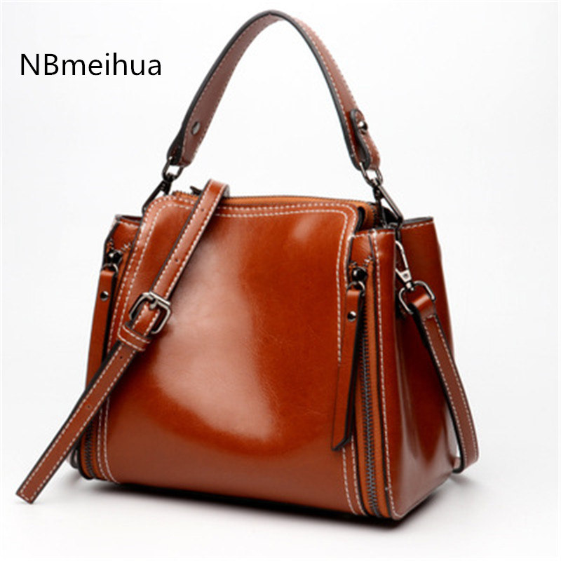 NBmeihua 2018 NEW genuine leather bag woman leather bags handbags famous brand Simple&classic hot bag luxury bolsa feminina 247 classic leather