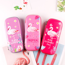 Buy Flamingo school stationery pencil bag Kawaii Creative school supplies pencil pouch with flower Novelty EVA pencil case directly from merchant!
