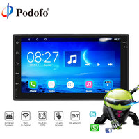 Podofo Universal 2 Din Android 7.1 Touch Car DVD Player GPS Navigation WiFi Bluetooth HD Radio Player Multimedia Radio Stereo