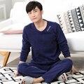 2016 осень полный рукавом пижамы множеств turn down воротник хлопок пижамы синий имитация хлопка пижамы мужской домашней одежды