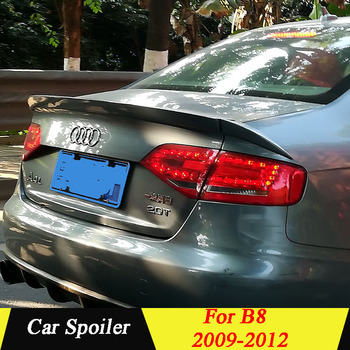 For Audi A4 B8 2009 2010 2011 2012 Rear Spoiler 3Pcs/Set PU Material Primer Color Car Tail Wing Decoration Trunk Spoiler