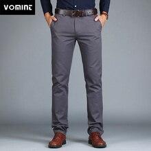 Vomint новые мужские брюки прямые свободные повседневные брюки большого размера хлопковые Модные мужские деловые брюки зеленый коричневый серый