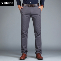 Vomint 2020 New Men's Pants Straight Loose Casual Trousers Large Size Cotton Fashion Men's Business Suit Pants Green Brown Grey