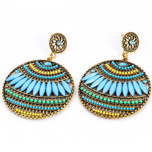 New Fashion Blue Ethnic Earrings Boho Bohemian hanging drops Earrings Round Colorful Indian vintage Earrings For Women Jewelry women s earrings fashion jewelry natural gradient mermaid tears water drops blue s925 silver hanging earrings stone e1244