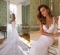 Sereia Appliqued Vestidos de Noiva Vestidos de Noiva Nova Coleção Por 2016 Catedral Trem Tulle Vestidos de Noiva Sem Mangas 1945