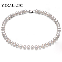 YIKALAISI 2017 100% Natural Freshwater Pearl choker Necklace Pearl Necklace with 925 sterling Silver jewelry For Women gift