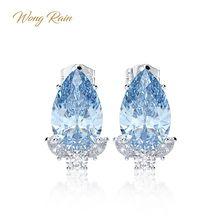Wong Rain 925 Стерлинговое Серебро Аквамариновый сапфир драгоценный камень бриллианты белое золото серьги шпильки хорошее ювелирное изделие