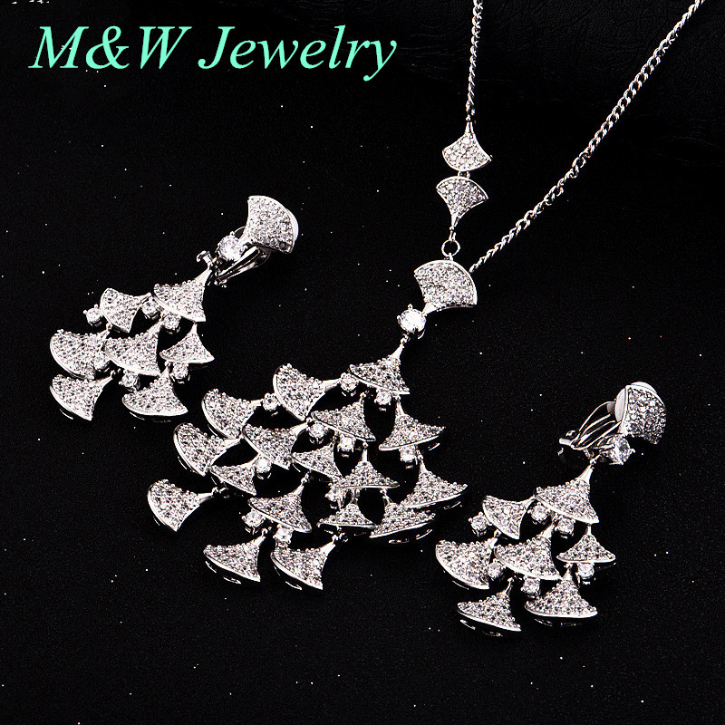 M&W JEWELRY version of the bride suit AAA + Cubic Zirconia jewelry necklace Stud Earrings two-piece hot selling personalized