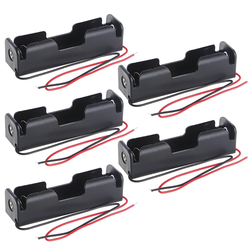 OOTDTY 5 Pcs/Set <font><b>3x18650</b></font> Rechargeable Battery 3.7V Clip Holder Box Case With Wire Lead image
