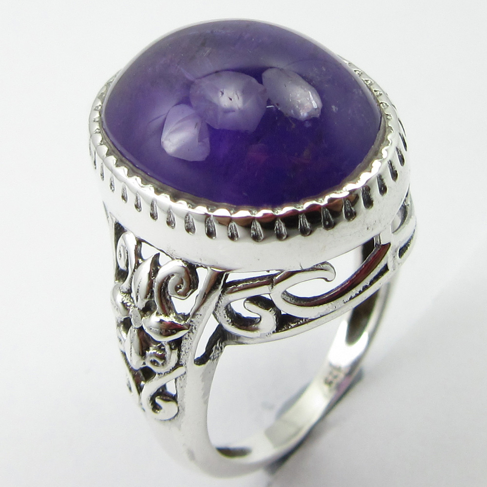 Solid Silver Amethysts February Birthstone Ring Size 6.25 Fancy Art Jewellery Unique Designed