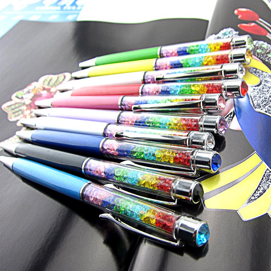 Image 2 - 1000Pcs/Lot Lady Rainbow Crystal Diamond Ballpoint Pen Stationery Ballpen Office Material School Supplies can engrave characters-in Ballpoint Pens from Office & School Supplies