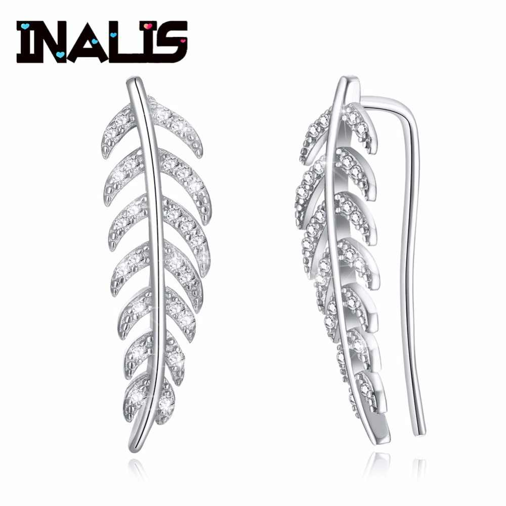 INALIS 2018 Newest 925 Sterling Silver Ear Hook Leaf Shape Micro Paved Clear CZ Crystal Stud Earrings for Women Wedding Brincos