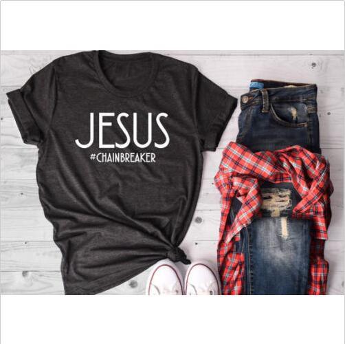 Jezus Zomer Grafische Brief Tee Wordt Zwart Brandt Vrouwen T-shirt Grappige Slogan O-hals Tops Esthetische Christian Vintage Tshirt Top