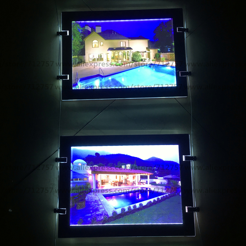 8PCS Single Sided A4 Window Cable Wire Hanging Magnetic LED Acrylic Poster Frame Light Box Signs for Real Estate Agent