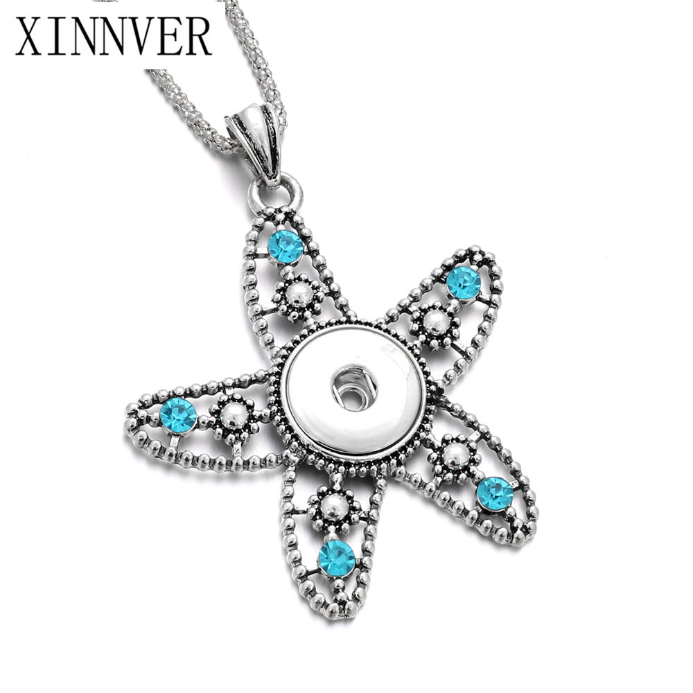 Newest Starfish Charms Necklace Fit 18mm Snap Button Necklace With Popcorn Chain For Woman DIY Jewelry