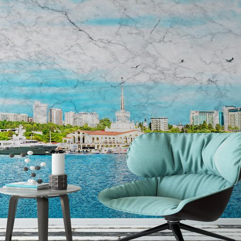 3D Custom Photo Wallpaper Blue and White WallPapers Wall Mural for Modern Living Room Decor Bedroom Office Study Home Decor fashion letters and zebra pattern removeable wall stickers for bedroom decor