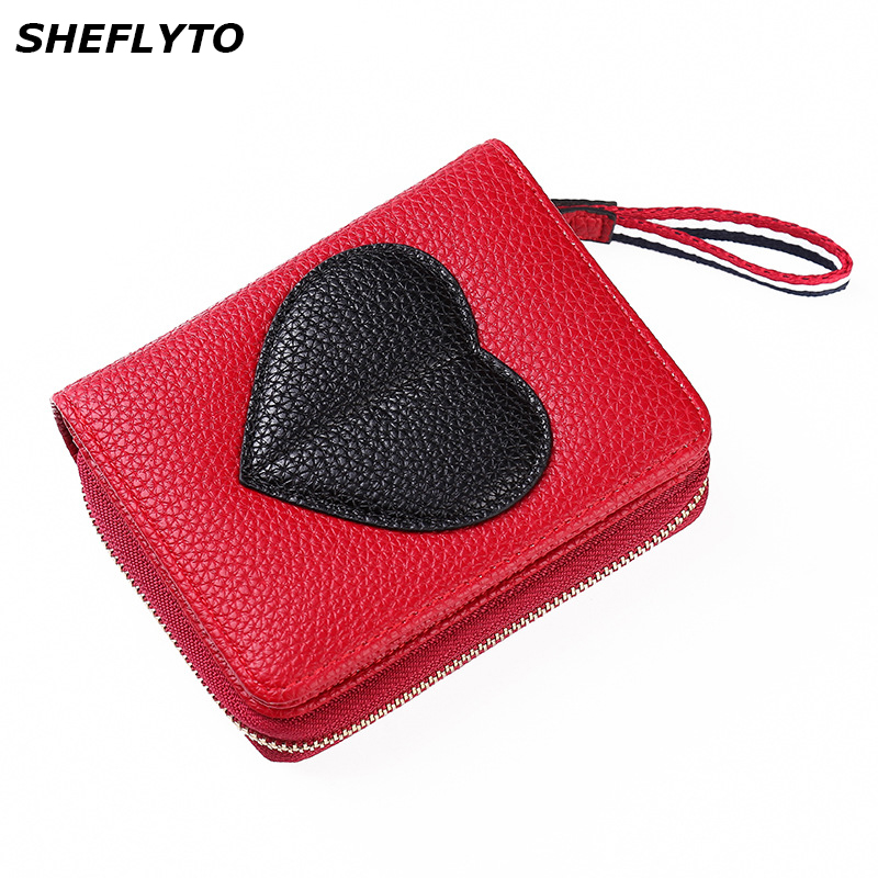 New Women Wallet Short Leather Coin Purse Wallet Female Card Holder Luxury Brand Small Zipper Hasp Red Love Clutch Lady's Purses fashion short wallet women with hasp zipper wallet small tassel female mini coin purse business card holder bags case