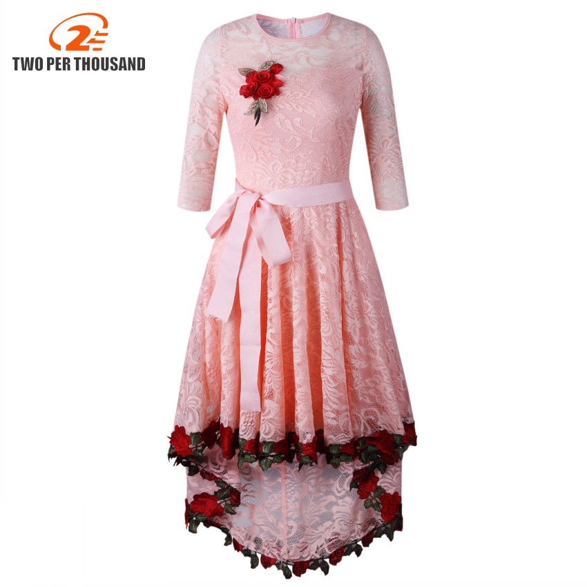 Hot Fashion Elegant Style 2018 Lace Dress Half Sleeve Maxi Long Dress O-Neck Summer Print party Dresses White Pink Vestidos