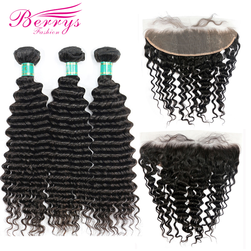 Virgin-Hair Weave Frontal-Closure Berrys Fashion 3-Bundles Deep-Wave with 13x4/free-Part