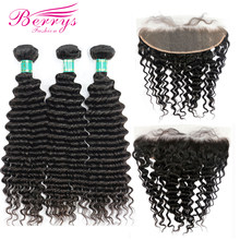 Berrys Fashion Virgin Hair Deep Wave 3 Bundles with Frontal Closure 13x4 Free Part 100% Unprocessed Malaysia Human Hair Weave(China)