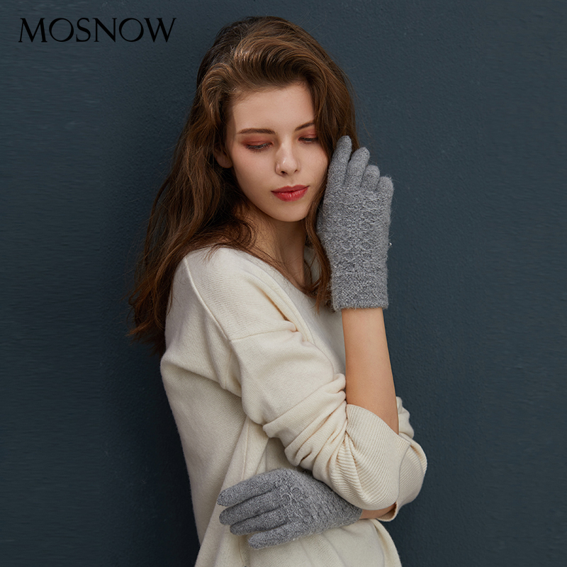 Women Knitted Gloves Winter Female Glove 2019 New Ladies Thicken Warm Wool Solid Gloves Autumn Women's Rabbit Fur Soft Mitten