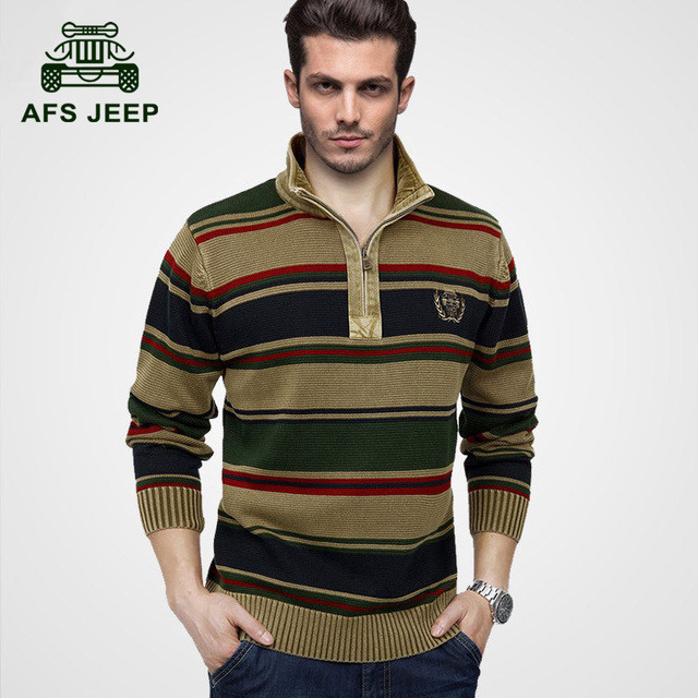 AFS JEEP 2015 European men's winter warm casual brand knitwear pullover man spring high quality 100% cotton stripe sweaters #802