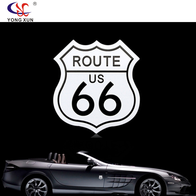 Car styling usa the route 66 motorcycle accessories 3d metal stickers decal emblem fit for cadillac