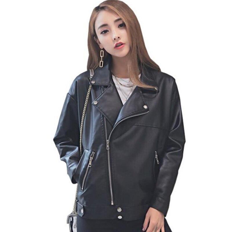 2019 Korean Style Women Autumn   Leather   Jacket Oversized Loose Boyfriend Female Faux   Leather   Coat Outwear jackets